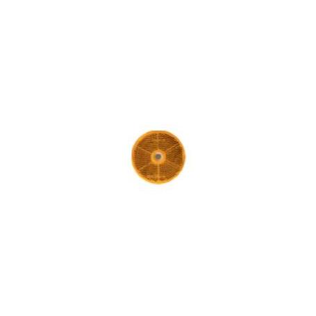 Catadioptre rond orange 60mm avec trou de fixation 6mm et adhésif