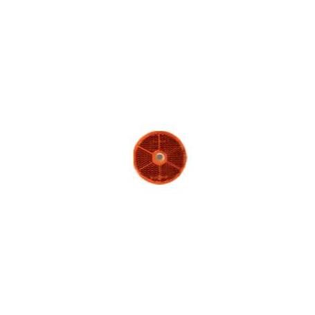 Catadioptre rond rouge 60mm avec trou de fixation 6mm et adhésif