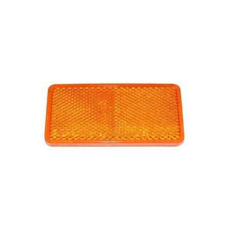 Catadioptre rectangulaire orange 90x40mm avec 2 trous de fixation 4,2mm et adhésif