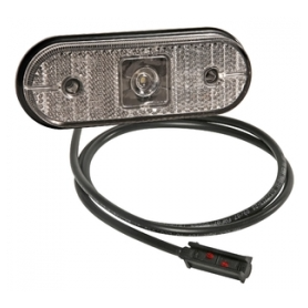 Feu de position AV UNIPOINT blanc à LED + catadioptre à plaquer et câble 1.5m P&R