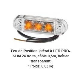 Feu de position latéral orange à LED PRO-SLIM cabochon transparent avec câble 0,5m 24V