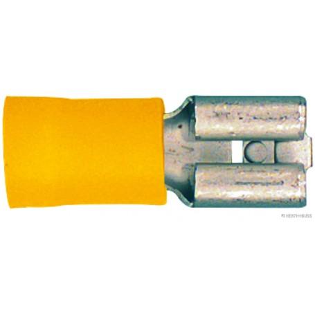 Cosse à sertir plate femelle JAUNE (x100) pré-isolée lar.6.3mm