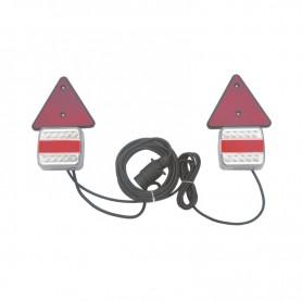 Kit feux arrière de remorque avec triangle 12V câble 7.50m